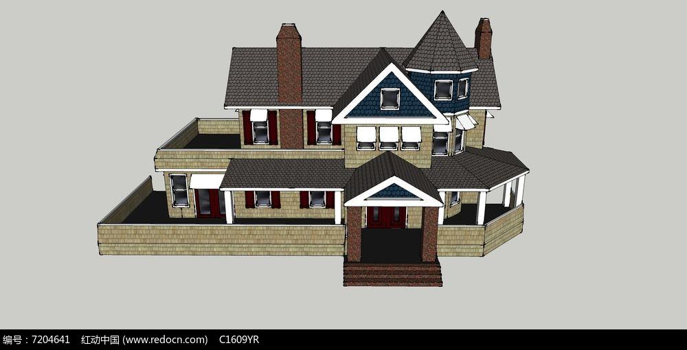 欧式独栋带庭院露台烟囱阁楼双层别墅模型