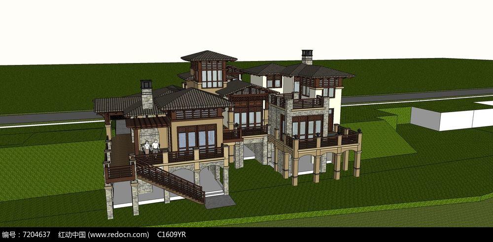 欧式多层复式结构架空带周边景观联排别墅模型图片