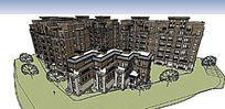 欧式建筑小区多层住宅景观全景SU模型