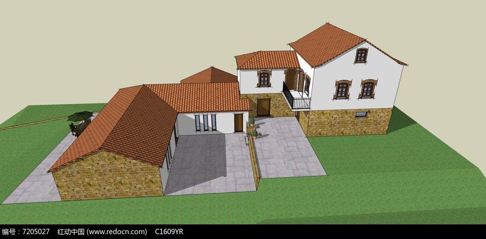 欧式美式乡村风带庭院多栋别墅模型图片