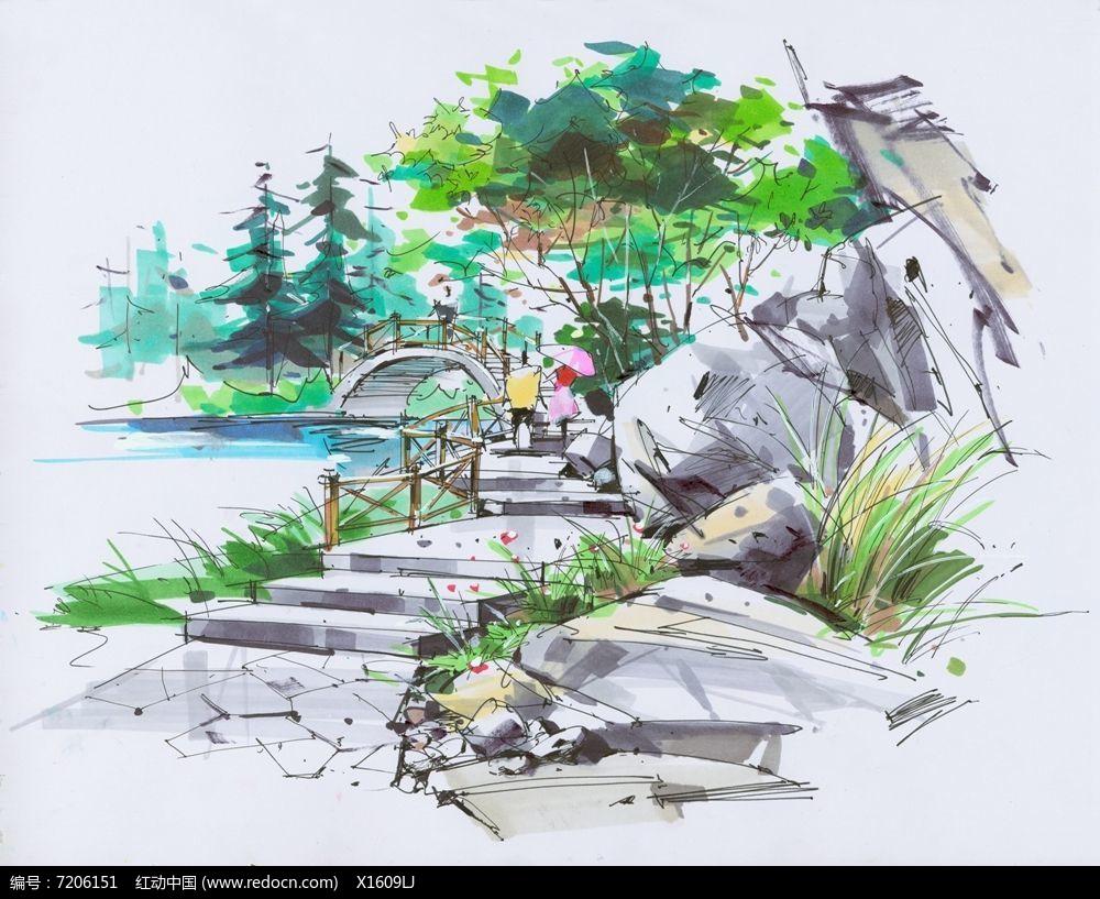山体水景观景桥景观图片