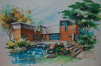 住宅别墅水景景观