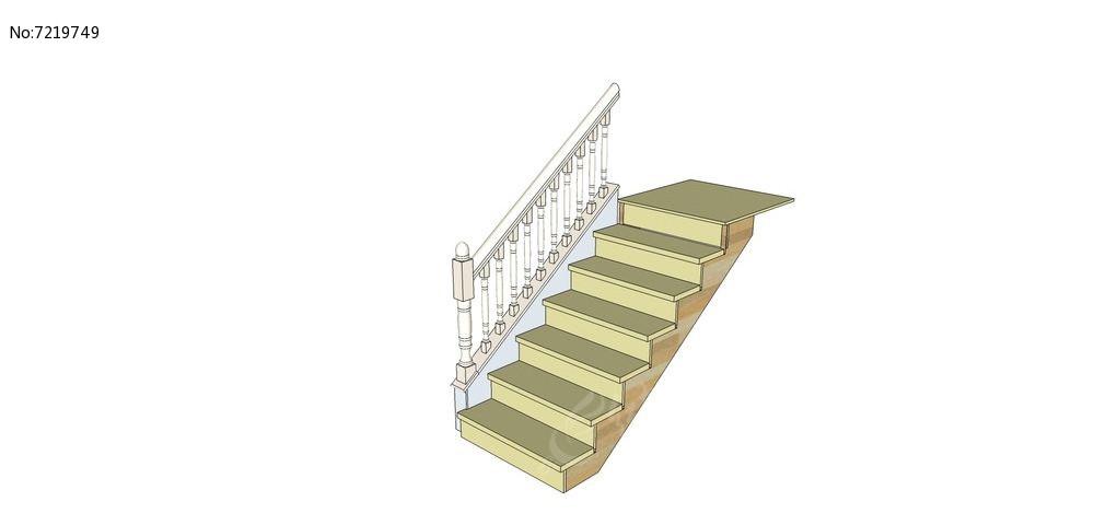 白色简约欧式楼梯su模型图片