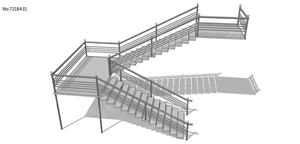 灰色现代风格转角楼梯su模型图片