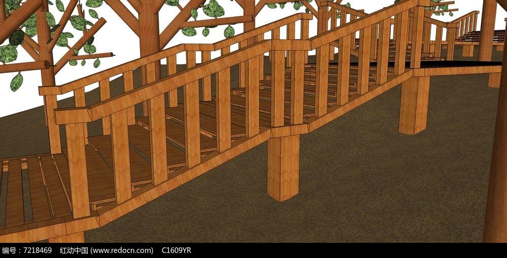 户外木栈道楼梯su模型图片