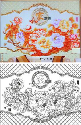 家和富贵传统中式背景墙雕刻图案