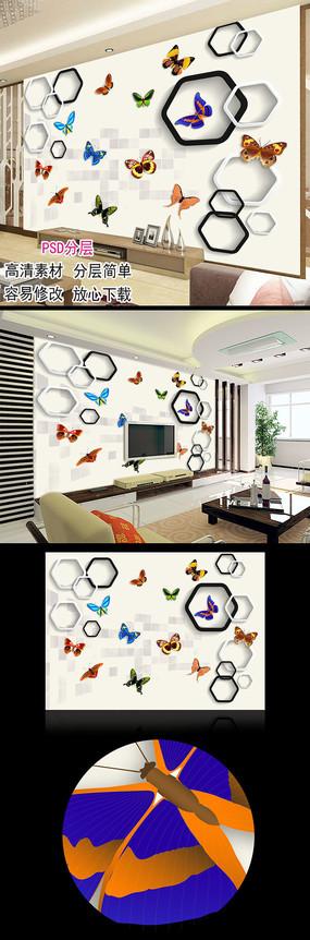 立体方块五彩蝴蝶简约电视背景墙图片