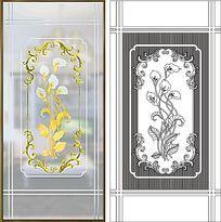 马蹄玻璃玄关莲雕刻图案