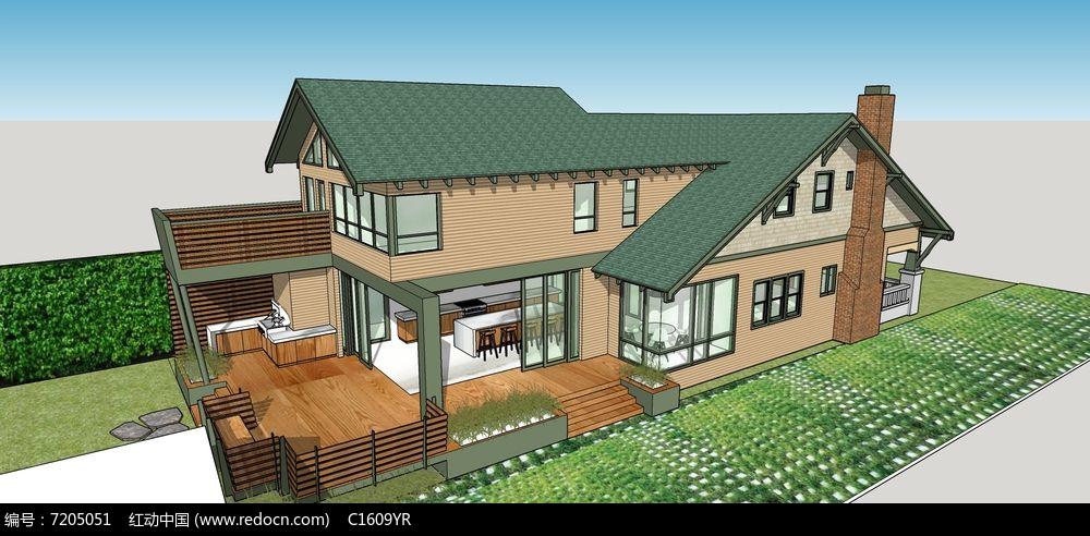 欧式户外防腐木庭院露台浅色系简约别墅模型图片