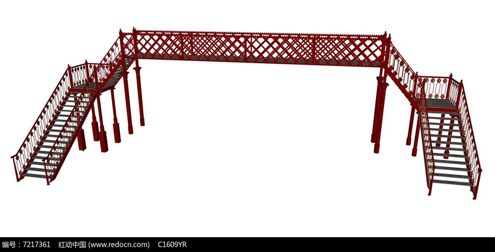 中式风格红色栏杆人行天桥su模型图片