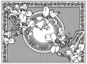 中式古典玉兰雕刻图案设计