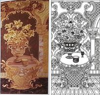 百合花杯子雕刻图案