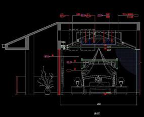 独层别墅主卧室装修设计立面图