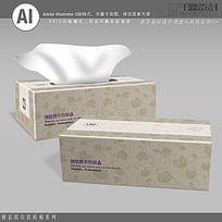 莲花底纹背景纸巾盒包装设计素材