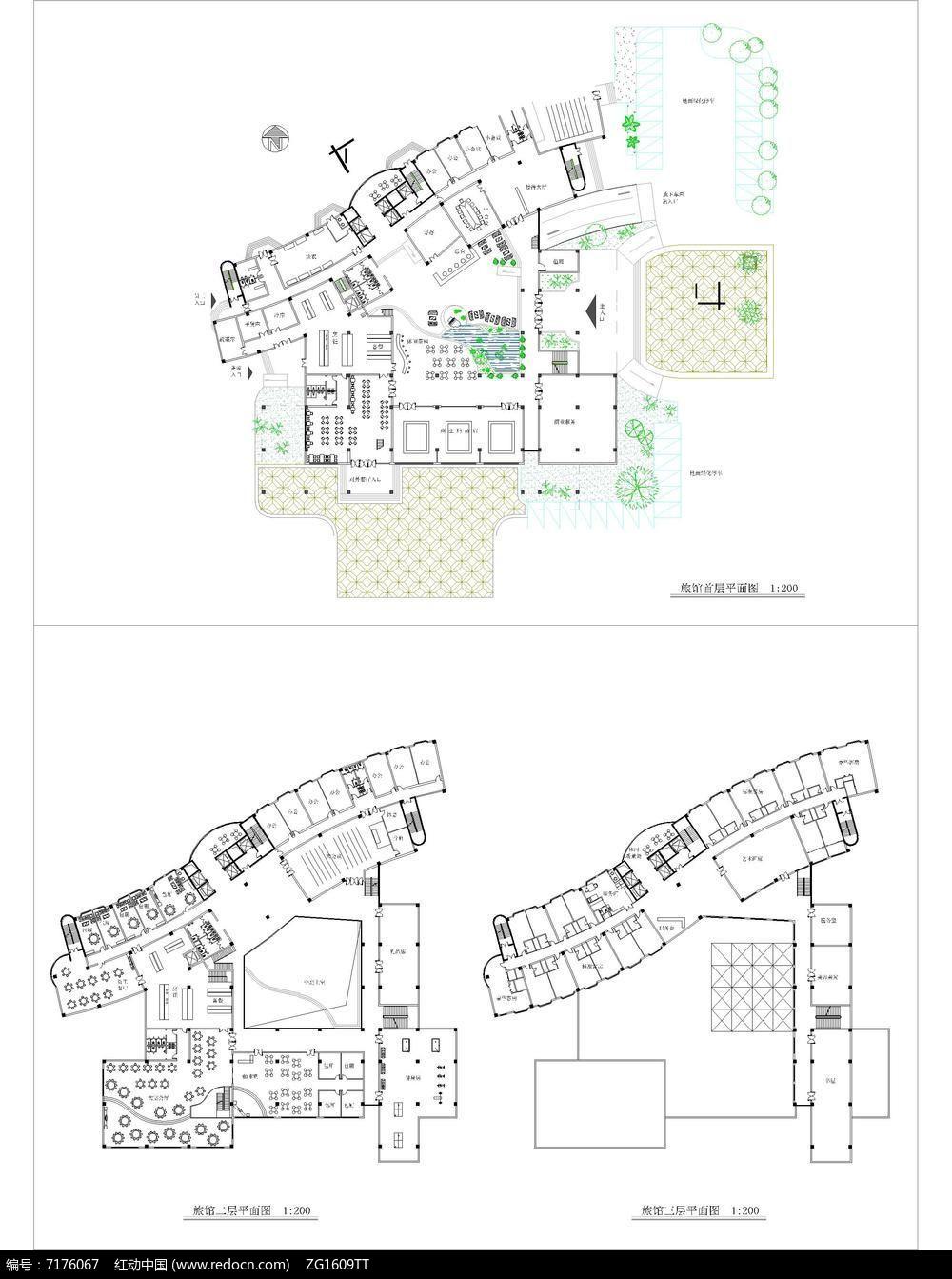 旅馆建筑设计平面图_某旅馆建筑三层室内室外环境平面图_红动网