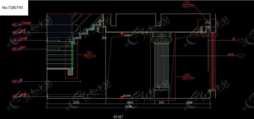 欧式别墅墙柱立面施工图cad素材下载