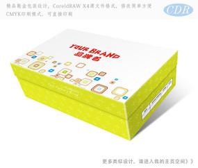 浅绿色方块图案童鞋包装彩盒包装设计