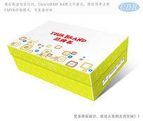 浅绿色方块图案童鞋包装彩盒包装设计 CDR