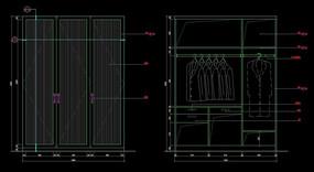 三门衣柜内外面造型设计图