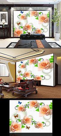 温馨玫瑰花客厅电视背景墙装饰画图片