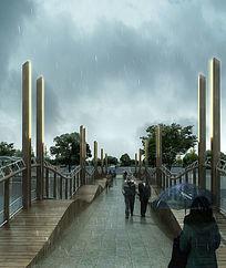 雨中的景观桥