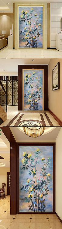 古典时尚唯美花卉玄关背景墙