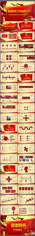 红色大气党政党委街道办事处党建党课通用PPT模板