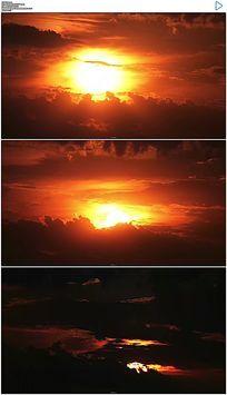 火红的夕阳日落实拍视频素材
