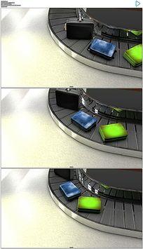 机场安检行李传送带实拍视频素材