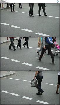 街道十字路口行人脚步实拍视频素材 mov