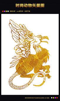 金色神鸟矢量图下载