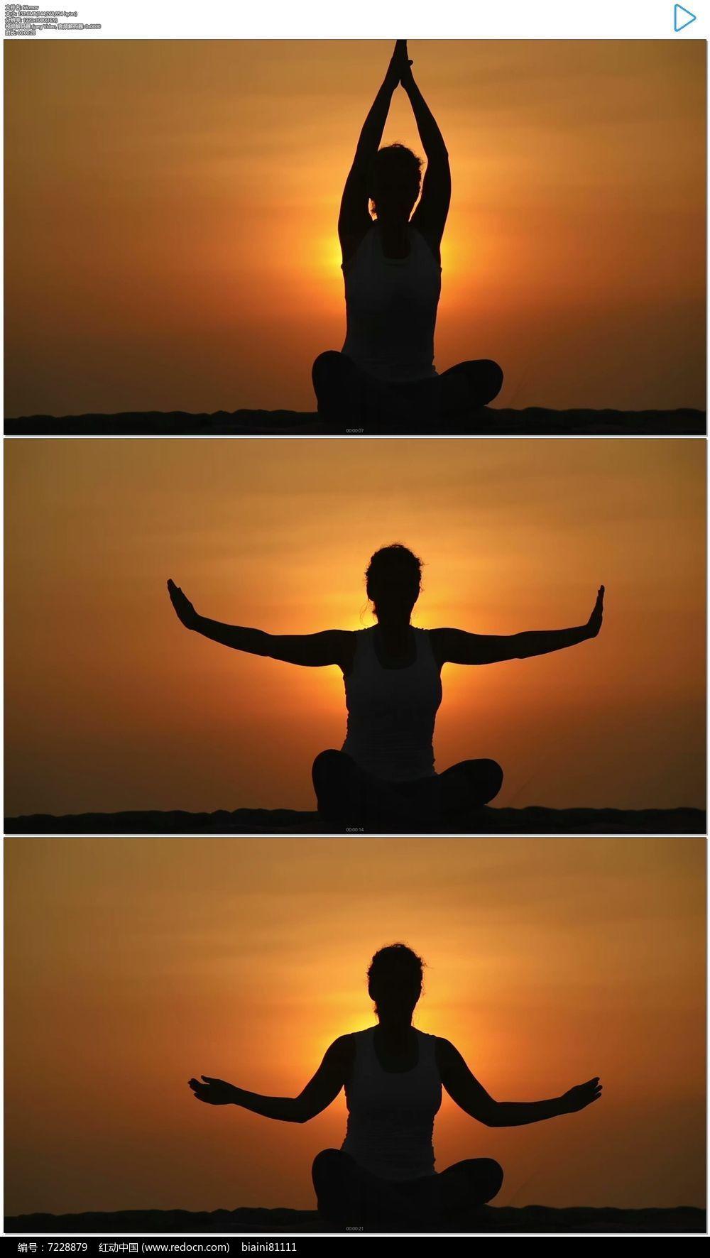 美女面對夕陽練瑜伽冥想剪實拍視頻素材圖片圖片