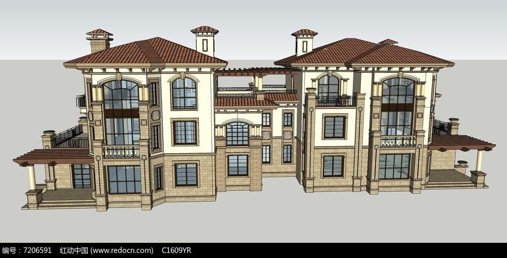 欧式风格复古对称式双户三层别墅模型图片