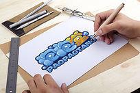 泡泡堂卡通logo设计