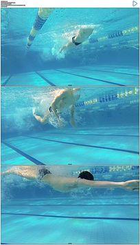 游泳运动员仰泳实拍视频素材