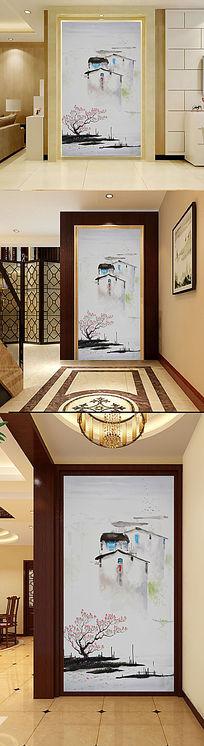 中式水墨江南水乡田园油画玄关门厅背景墙