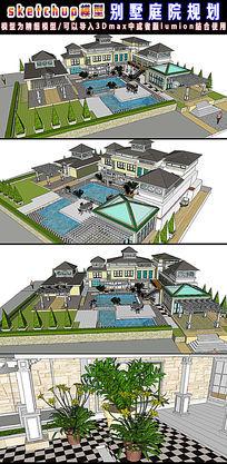 SU草图大师带泳池庭院花园模型