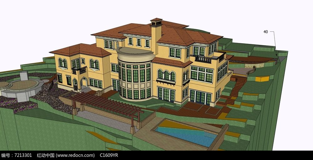 欧式独栋三层带景观地形别墅su模型