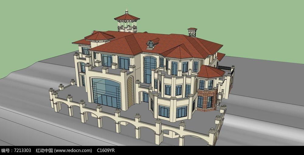 欧式架空高层浅色别墅su模型图片