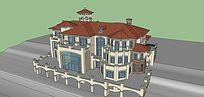 欧式架空高层浅色别墅SU模型