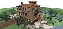 欧式深色带周边景观独栋高层别墅SU模型