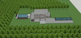 山地泳池别墅模型