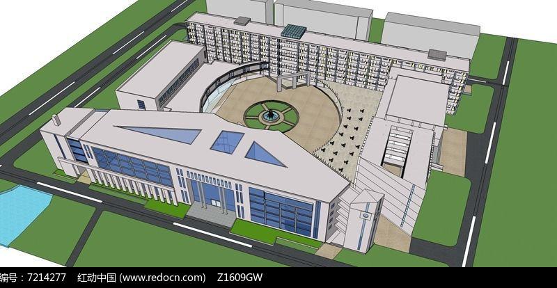 现代建筑校园规划模型图片