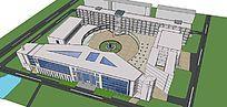 现代建筑校园规划模型