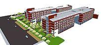 现代校园及绿色模型