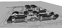 中式校园建筑模型