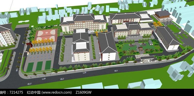 中式学校规划设计模型图片