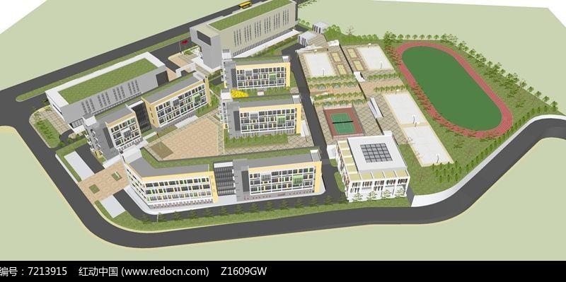 中学校园整体规划设计模型图片