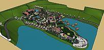 自然式山水公园景观全景SU模型