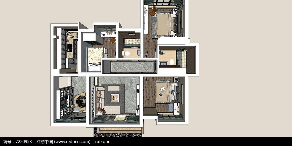 错层风格室内欧式效果暖色调v风格草图skp室内设计师明度图片